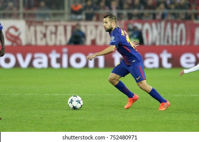 Piraeus, Greece October, 31, 2017   Barcelona's Jordi Alba (18) with the ball in the champions league football match Olympiacos vs Barcelona in Piraeus.