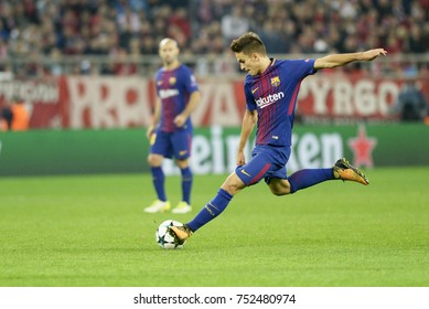 Piraeus, Greece October, 31, 2017  Barcelona's Denis Suarez (6) with the ball in the champions league football match Olympiacos vs Barcelona in Piraeus.