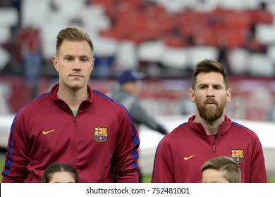 Piraeus, Greece October, 31, 2017.  Barcelona's goalkeeper Marc-Andre ter Stegen (L) and Lionel Messi (R)in Karaiskaki stadium befor the champion league football game between Olympiakos vs Barcelona.
