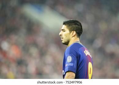 Piraeus, Greece October, 31, 2017.  Barcelona's Luis Suarez (9)  in the champions league football match Olympiacos vs Barcelona in Piraeus.