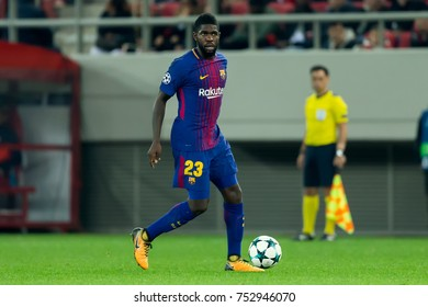 Piraeus, Greece - October 31, 2017: Player of Barcelona Samuel Umtiti during the UEFA Champions League game between Olympiacos vs FC Barcelona at Georgios Karaiskakis stadium
