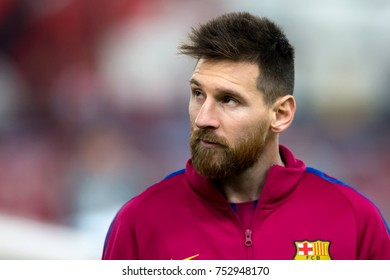Piraeus, Greece - October 31, 2017: Player of Barcelona Lionel Messi in action during the UEFA Champions League game between Olympiacos vs FC Barcelona at Georgios Karaiskakis stadium