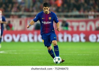 Piraeus, Greece - October 31, 2017: Player of Barcelona Luis Suarez during the UEFA Champions League game between Olympiacos vs FC Barcelona at Georgios Karaiskakis stadium