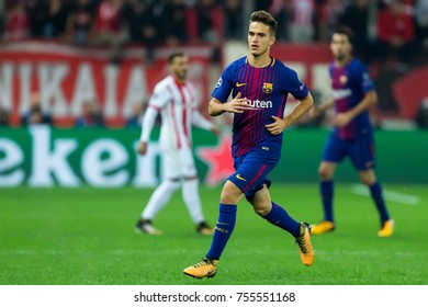 Piraeus, Greece - October 31, 2017: Player of Barcelona Denis Suarez during the UEFA Champions League game between Olympiacos vs FC Barcelona at Georgios Karaiskakis stadium