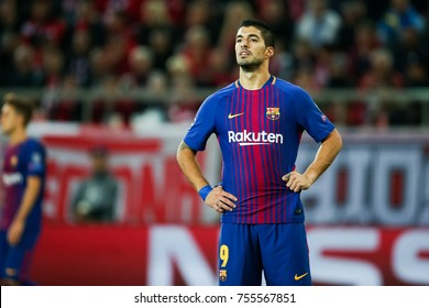 Piraeus, Greece - October 31, 2017: Player of Barcelona Luis Suarez during the UEFA Champions League game between Olympiacos vs FC Barcelona at Georgios Karaiskakis stadium