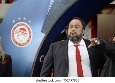 Piraeus, Greece October, 31,2017. Vagelis Marinakis president of Olympiacos f.c. in the field before the champions league football match Olympiacos vs Barcelona in Piraeus.