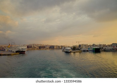 Piraeus Harbour : March 3rd. Commercial ferry boat  Blue Star Paros leaving harbour early in the morning destination Syros Island. March 3rd, 2019 Piraeus , Greece. Editorial Image.