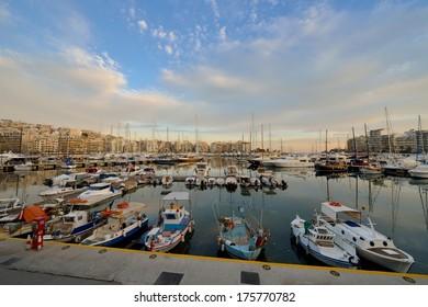 Piraeus Marina in Athens at Twilight time
