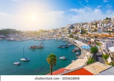 Piraeus marina landscape, Athens, Greece.