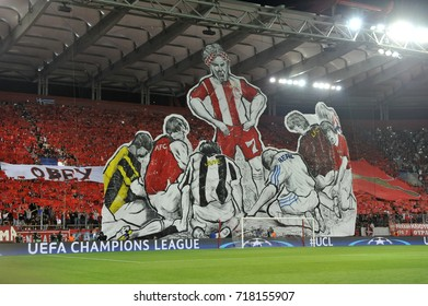 Piraeus,Greece Sept. 12, 2017.Fans of Olympiacos at George Karaiskakis Stadio. Olympiacos f.c. is the most popular Greek club inside Greece and in the Greek communities all over the world.