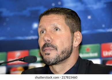 Piraeus,Greece Sept 16, 2014. Atletico Madrid's coach Diego Simeone attends a press conference at the Georgios Karaiskakis stadium in the Piraeus port, near Athens