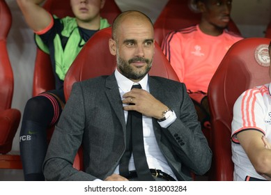 Piraeus,Greece Sept 16, 2015. Bayern's head coach Pep Guardiola during a Champions League match between Olympiakos and Bayern Munich at Karaiskaki stadium in Piraeus port, near Athens,