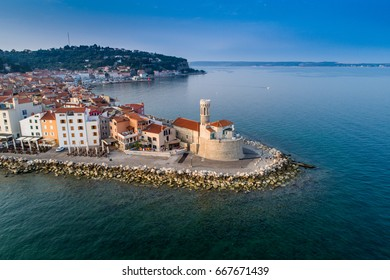 Piran on Slovenian adriatic coast in morning sun