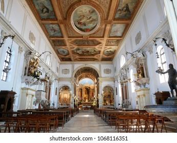 PIRAN, SI - 01 April 2018 - Interior view of St.George cathedral in Piran.