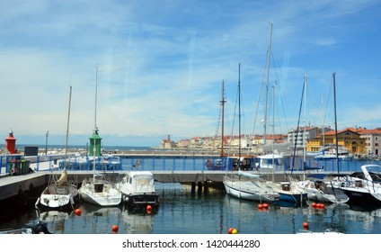 PIRAN SLOVENIA 05 17 2019: Harbor of Piran is a town in southwestern Slovenia on the Gulf of Piran on the Adriatic Sea.The town has much medieval architecture, with narrow streets and compact houses.