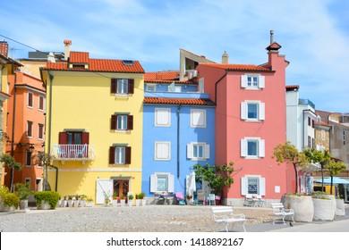 PIRAN SLOVENIA 05 19 2019: Colorful facade of buildings in Piran town on Adriatic sea, one of major tourist attractions in Slovenia, Europe.