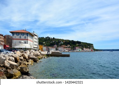 PIRAN SLOVENIA 05 19 2019: Featuring a seafront location in historic Piran town center, Hotel Piran features a restaurant and a spa and wellness center.