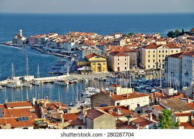 Piran, Slovenia - 20 June, 2014 - Historical town Piran on Slovenian adriatic coast