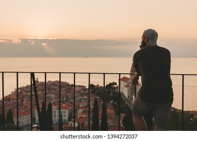Piran, Slovenia - July, 2018: Piran is a resort city on Slovenia's Adriatic coast, known for its long pier and Venetian architecture.