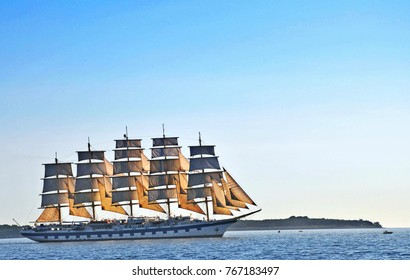 Piran, Slovenia - July 22, 2016: Big historical sailing boat sail ship cruise on sea