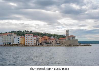 Piran, Slovenia - September 2016: view from the sea on the Slovenian city Piran