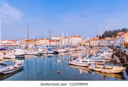 Piran, Slovenia summer sunny day. Yachts at marina Mediterranean sea.