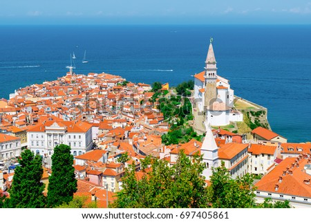 Piran, Slovenia. View from atop the city walls.