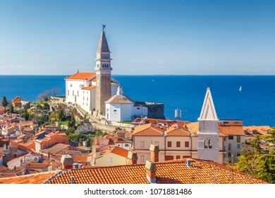 Piran town on Adriatic sea, one of major tourist attractions in Slovenia, Europe.