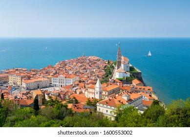 Piran town in Slovenia. Panoramic view of Adriatic sea and city of Piran in Istria, Slovenia.