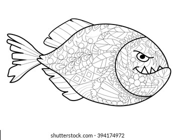Piranha sea animal coloring book for adults raster illustration. Anti-stress coloring for adult. Zentangle style. Black and white lines. Lace pattern
