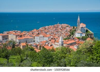 Piran/Slovenia - May 3,2019 - A sunny day above the medieval city of Piran