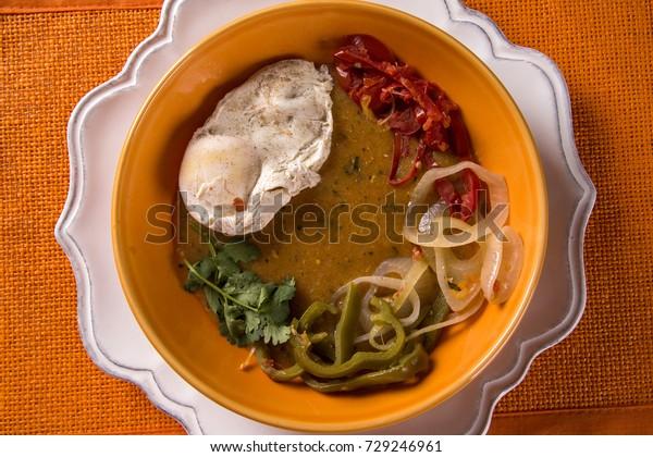 Pirao with eggs. Fish cream