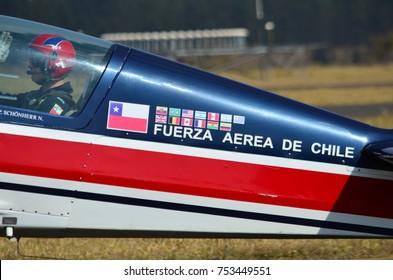 """PIRASSUNUNGA, BRAZIL - August 13, 2017 - 65th Smoke Squadron celebration, with presentation of the Chilean Squadron """"Halcones""""."""