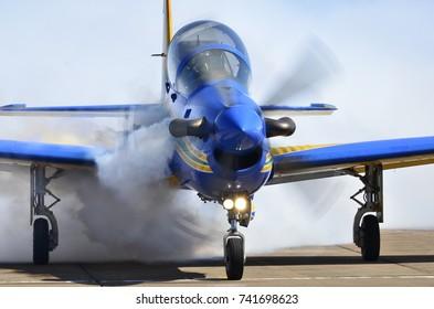 PIRASSUNUNGA, BRAZIL - May 13, 2017 - A-29 Super Tucano formation flight of Brazilian Smoke Squadron