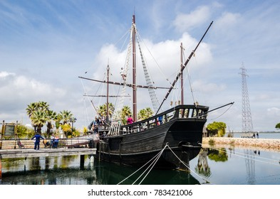Pirate boat. Caravel sailing ship of Christopher Colombus exhibition in Huelva, Spain. March 2016