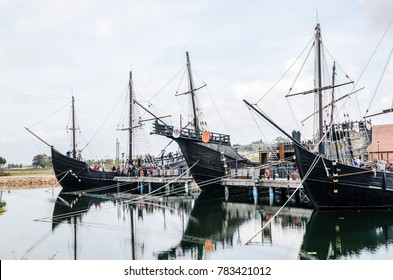 Pirate boats. Caravel sailing ships of Christopher Colombus exhibition in Huelva, Spain. March 2016