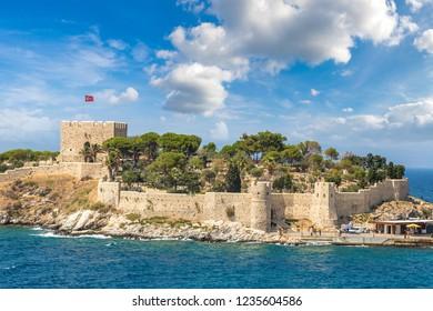 Pirate castle on Pigeon Island in Kusadasi, Turkey in a beautiful summer day
