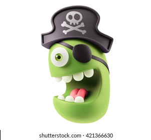 Pirate Emoticon Character Face Expression. 3d Rendering.