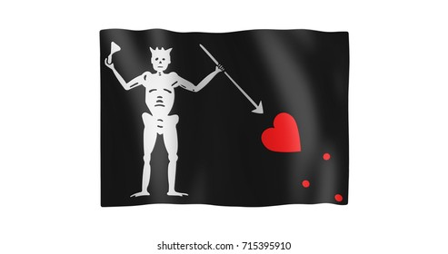 Pirate Flag of Blackbeard; gentle, stylized, non-realistic, unhinged waving; nice textile pattern visible in hi-res