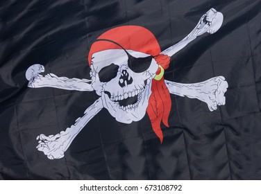 LEGO Pirate Flag Skull and Crossbones White on Red Background with White Pole