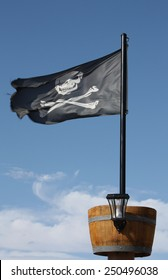 Pirate Flag Skull and Crossbones black pirate flag with crows nest.