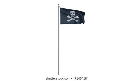 Pirate flag waving on white background, long shot, isolated with clipping path mask alpha channel transparency
