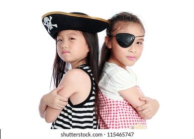 Pirate girl isolated white background