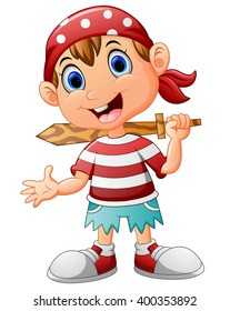 Pirate kid holding a wooden sword