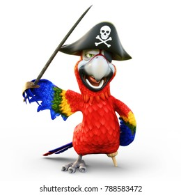 Pirate Parrot with peg leg, posing with a hat, patch and sword on an isolated white background. 3d rendering
