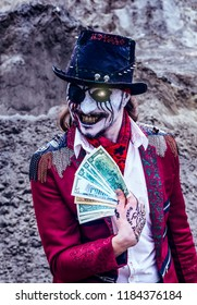 pirate rogue zombie with one eye holds dollars with greedy facial expression,