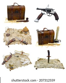 Pirate set with maps and guns isolated on white
