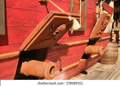 Pirate Ship. Cannons of a pirate ship.