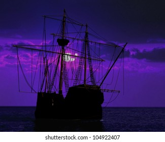pirate ship docking under moon light