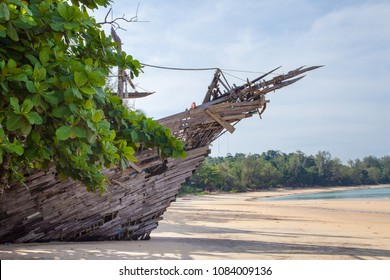 Pirate ship on tropical beach in southeast asia.